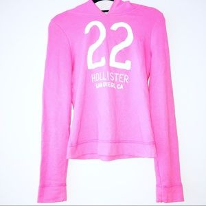 "— Hollister — Pink & White Hoodie ""22"""